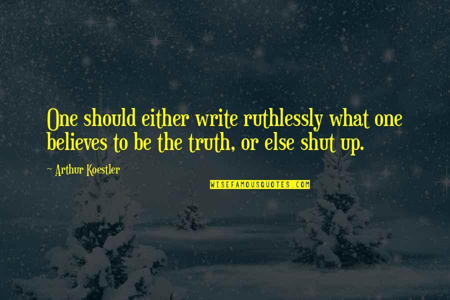 Arthur Koestler Quotes By Arthur Koestler: One should either write ruthlessly what one believes