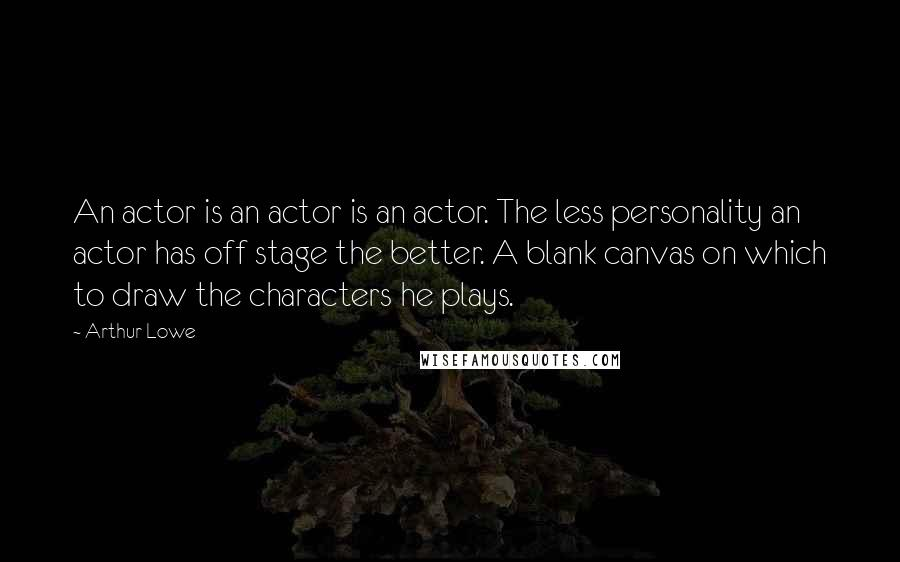 Arthur Lowe quotes: An actor is an actor is an actor. The less personality an actor has off stage the better. A blank canvas on which to draw the characters he plays.