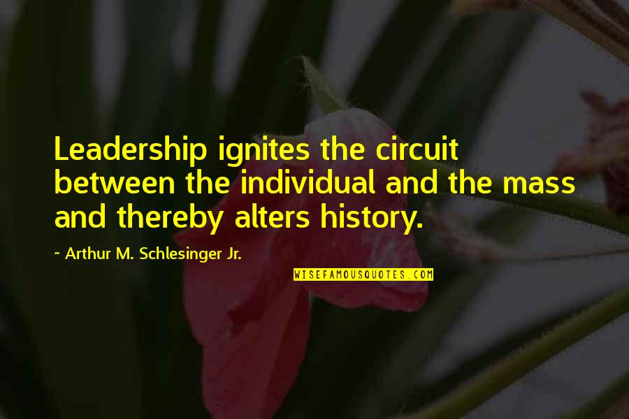 Arthur Schlesinger Quotes By Arthur M. Schlesinger Jr.: Leadership ignites the circuit between the individual and