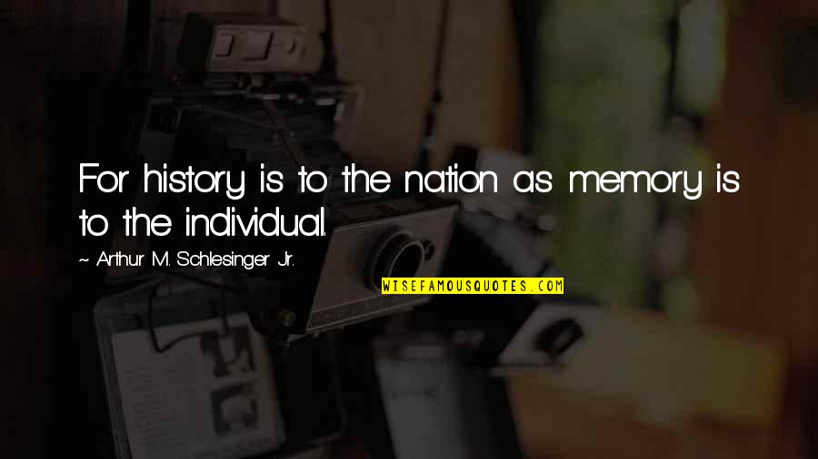 Arthur Schlesinger Quotes By Arthur M. Schlesinger Jr.: For history is to the nation as memory