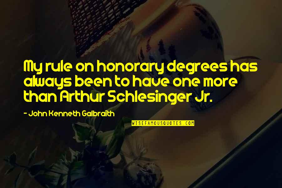 Arthur Schlesinger Quotes By John Kenneth Galbraith: My rule on honorary degrees has always been