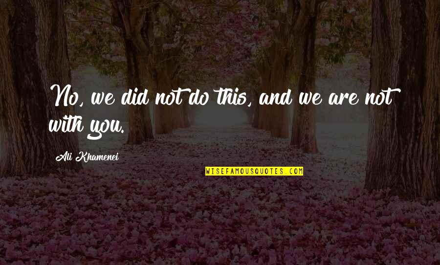 Arthur Shawcross Quotes By Ali Khamenei: No, we did not do this, and we