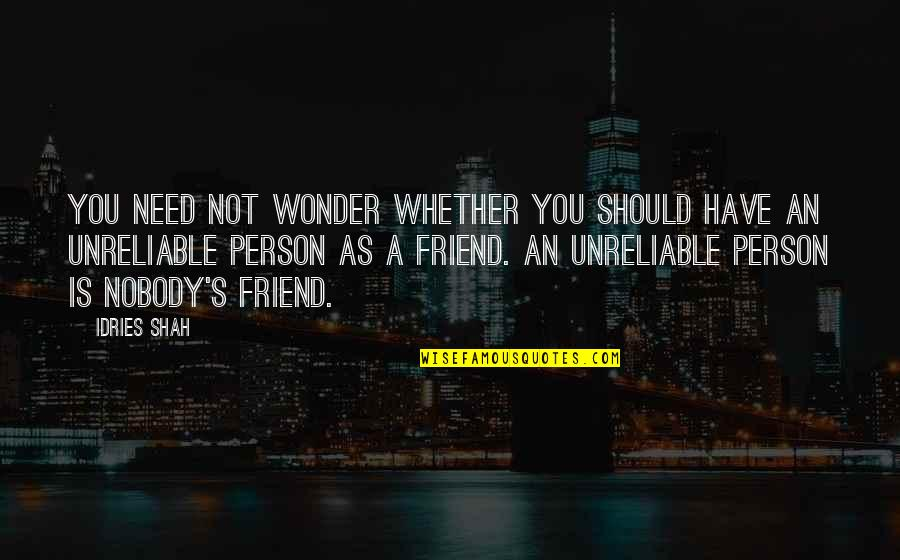 As A Friend Quotes By Idries Shah: You need not wonder whether you should have