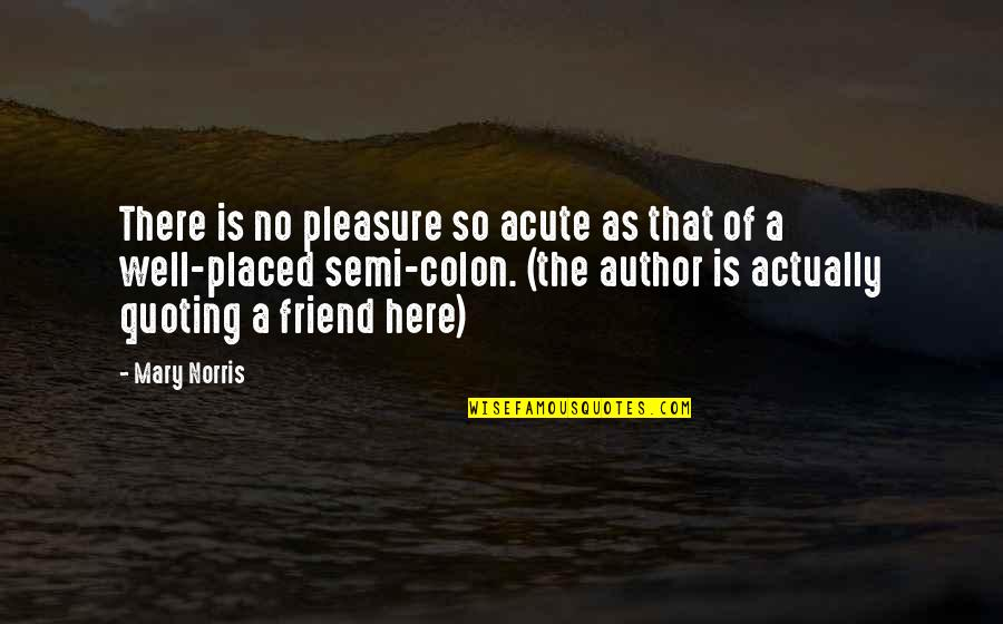 As A Friend Quotes By Mary Norris: There is no pleasure so acute as that