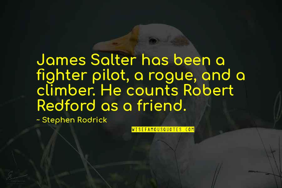 As A Friend Quotes By Stephen Rodrick: James Salter has been a fighter pilot, a