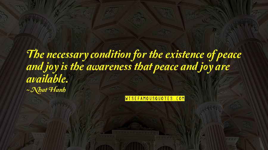 As A Man Thinketh Bible Quotes By Nhat Hanh: The necessary condition for the existence of peace