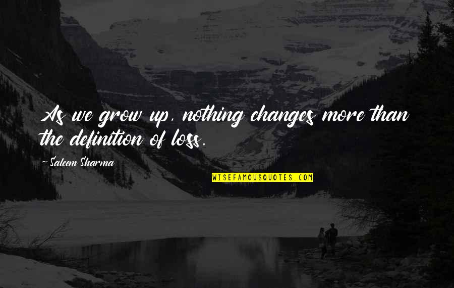 As You Mature Quotes By Saleem Sharma: As we grow up, nothing changes more than