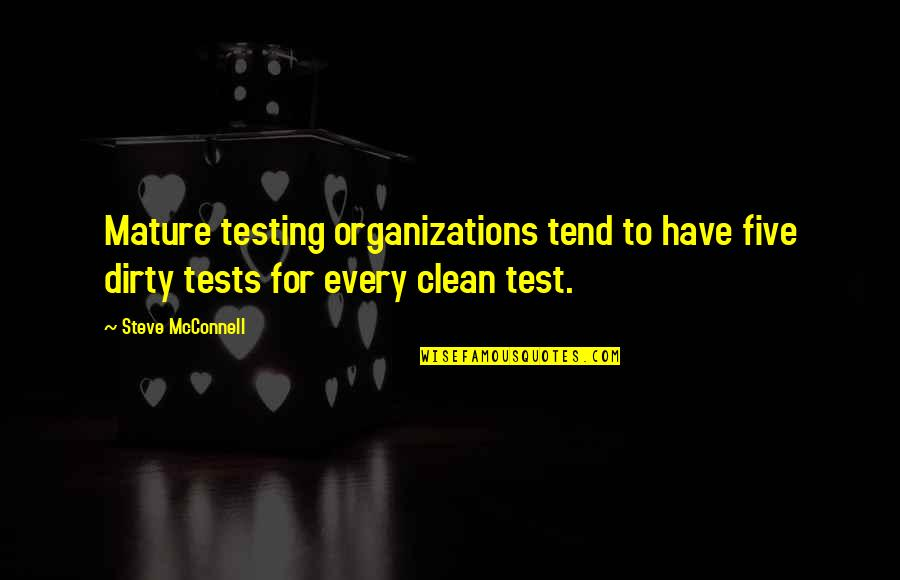 As You Mature Quotes By Steve McConnell: Mature testing organizations tend to have five dirty