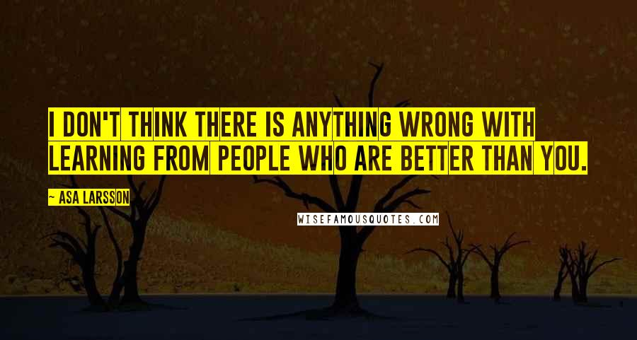 Asa Larsson quotes: I don't think there is anything wrong with learning from people who are better than you.