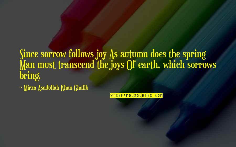 Asadullah Quotes By Mirza Asadullah Khan Ghalib: Since sorrow follows joy As autumn does the