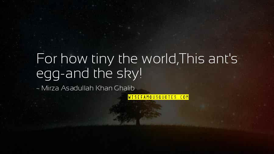 Asadullah Quotes By Mirza Asadullah Khan Ghalib: For how tiny the world,This ant's egg-and the