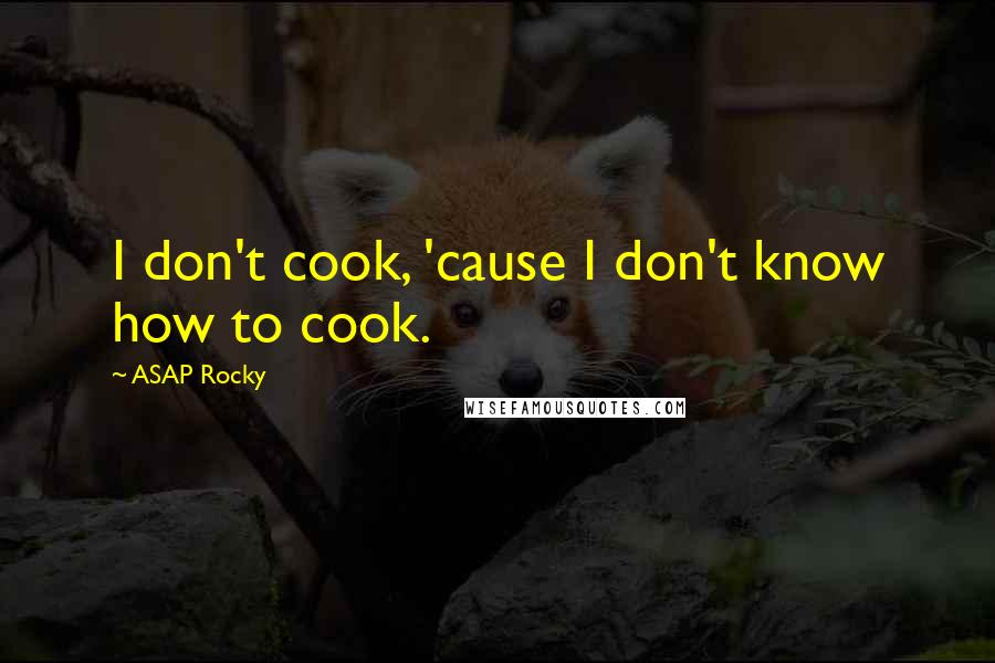 ASAP Rocky quotes: I don't cook, 'cause I don't know how to cook.