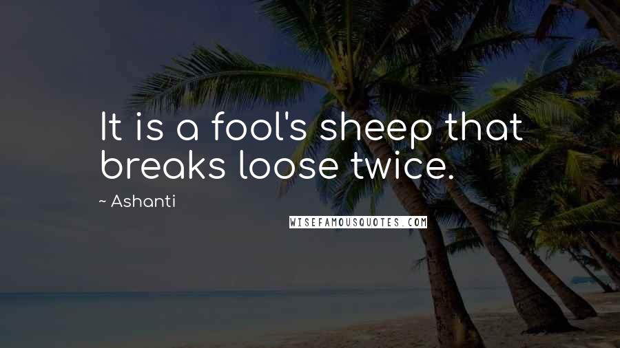 Ashanti quotes: It is a fool's sheep that breaks loose twice.