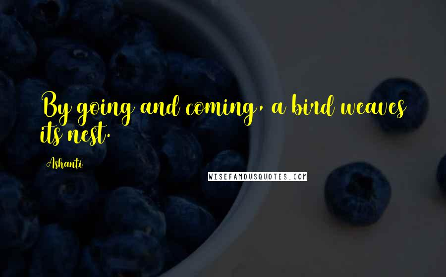 Ashanti quotes: By going and coming, a bird weaves its nest.