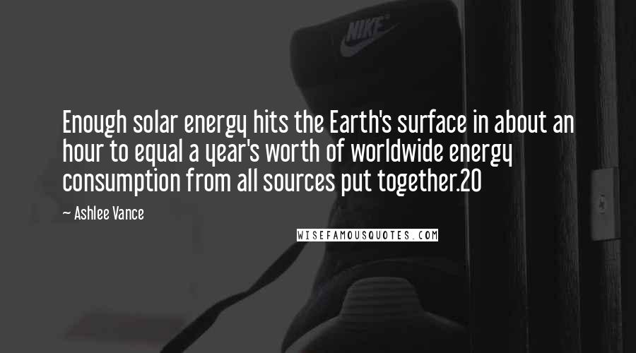 Ashlee Vance quotes: Enough solar energy hits the Earth's surface in about an hour to equal a year's worth of worldwide energy consumption from all sources put together.20