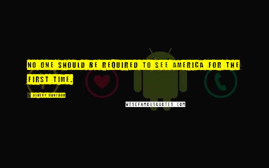 Ashley Montagu quotes: No one should be required to see America for the first time.