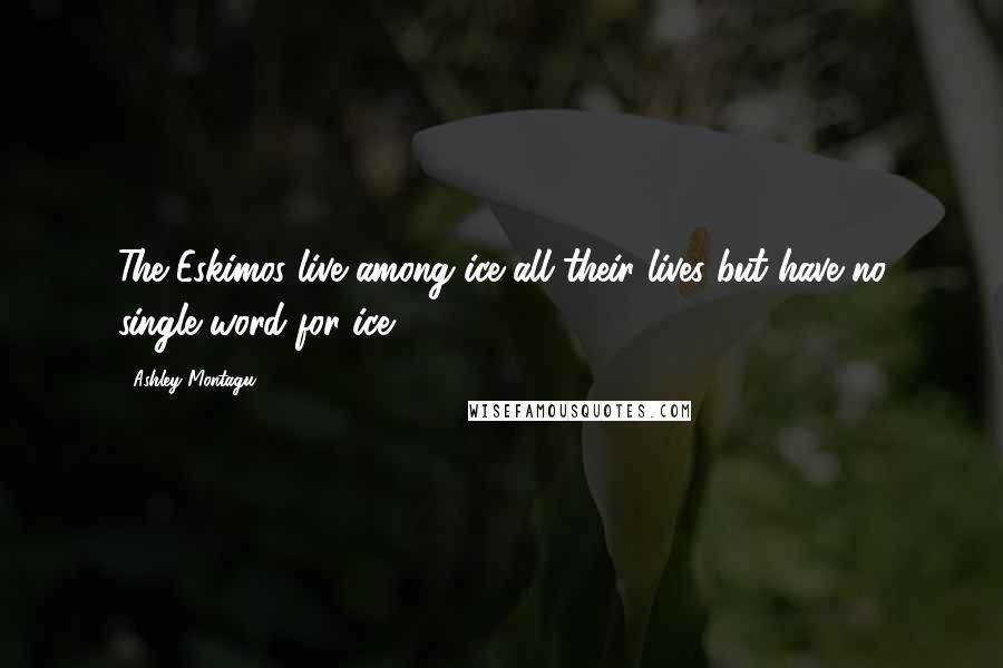 Ashley Montagu quotes: The Eskimos live among ice all their lives but have no single word for ice.