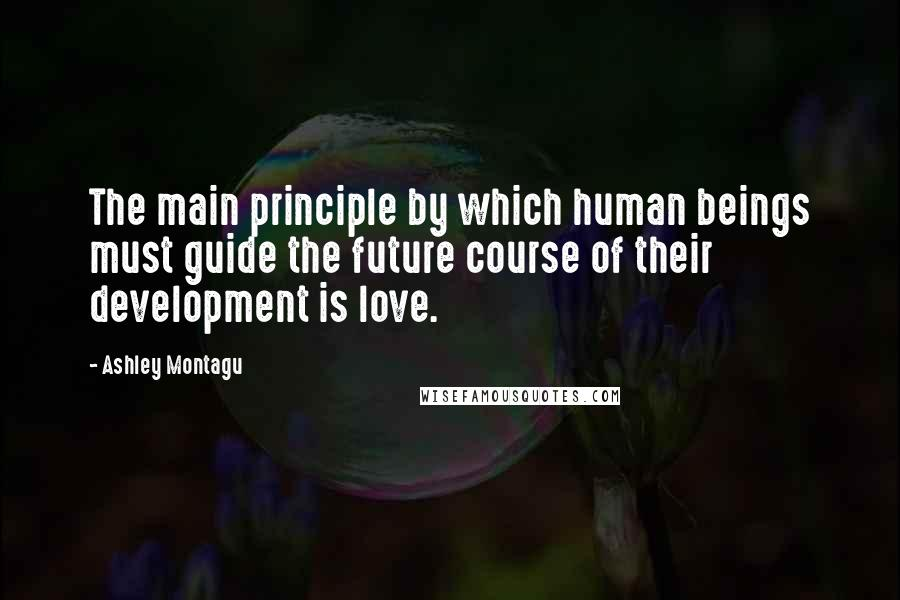 Ashley Montagu quotes: The main principle by which human beings must guide the future course of their development is love.