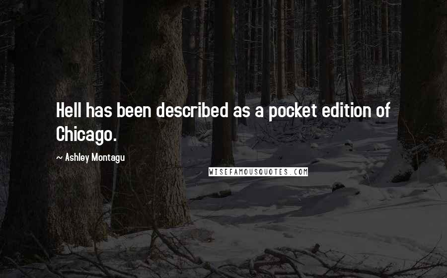 Ashley Montagu quotes: Hell has been described as a pocket edition of Chicago.