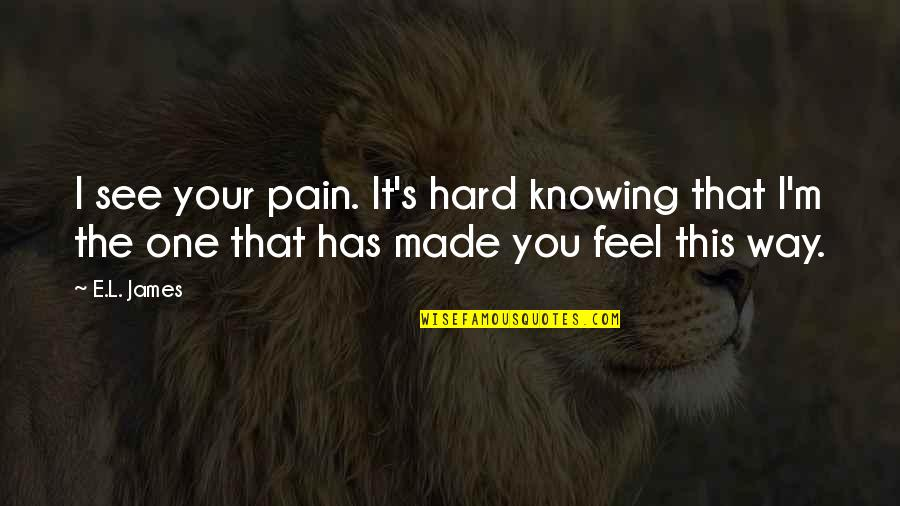 Asking Sorry To Lover Quotes By E.L. James: I see your pain. It's hard knowing that