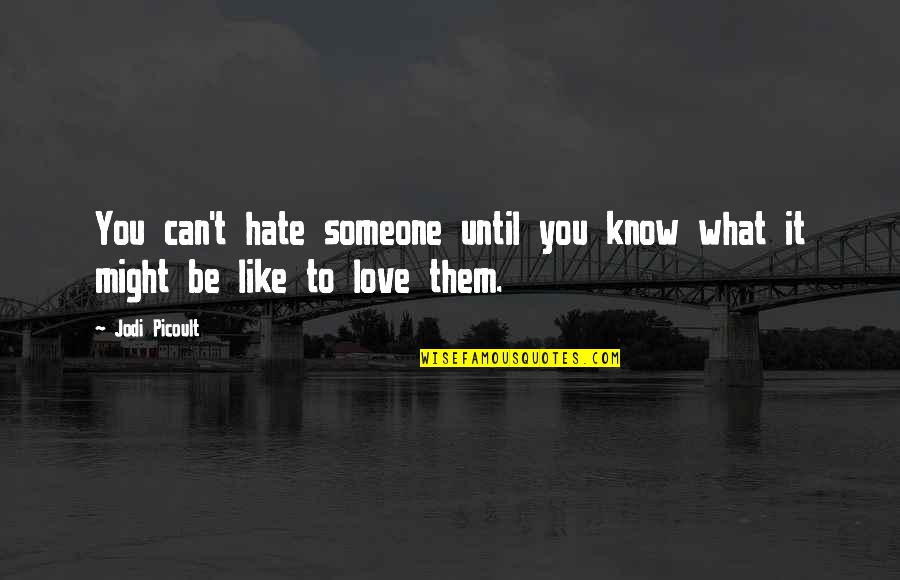 Asking Sorry To Lover Quotes By Jodi Picoult: You can't hate someone until you know what