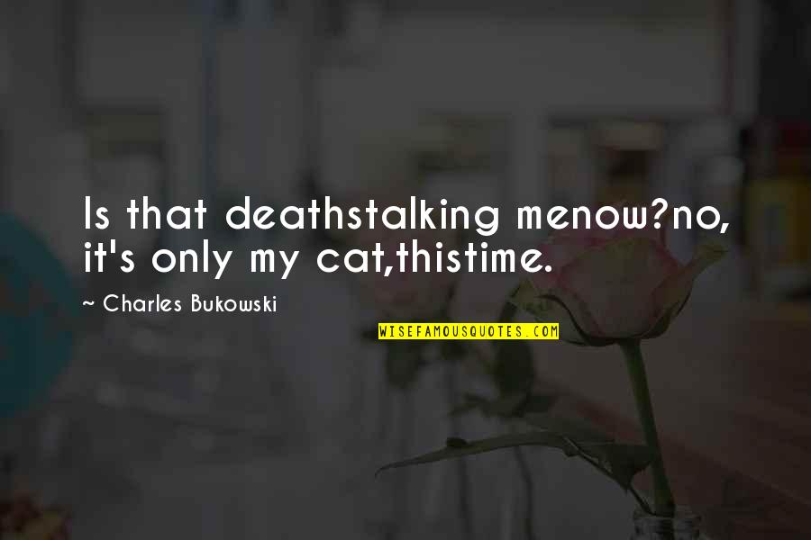 Aspire Higher Motivational Quotes By Charles Bukowski: Is that deathstalking menow?no, it's only my cat,thistime.