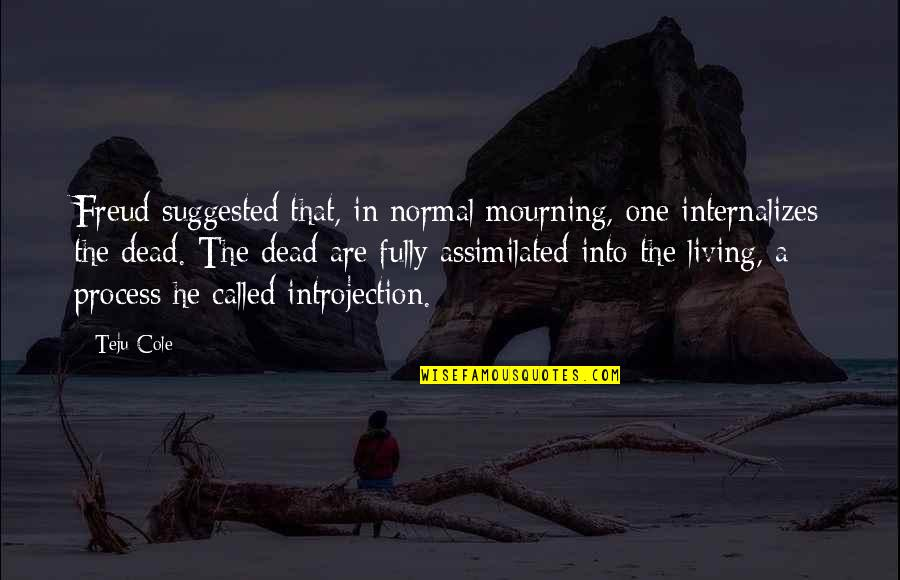 Assimilated Quotes By Teju Cole: Freud suggested that, in normal mourning, one internalizes
