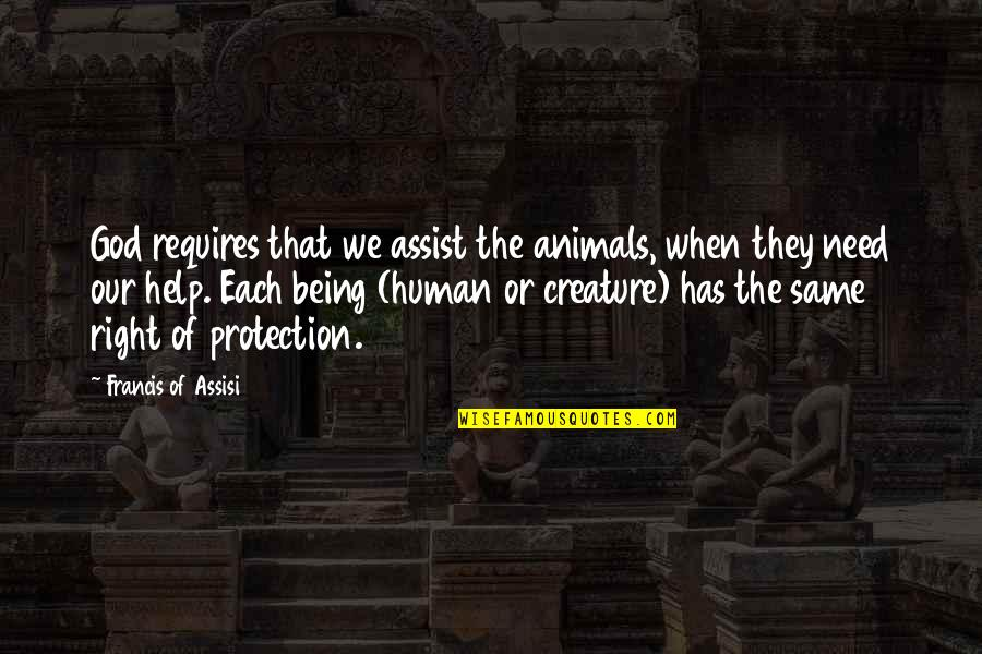 Assisi's Quotes By Francis Of Assisi: God requires that we assist the animals, when