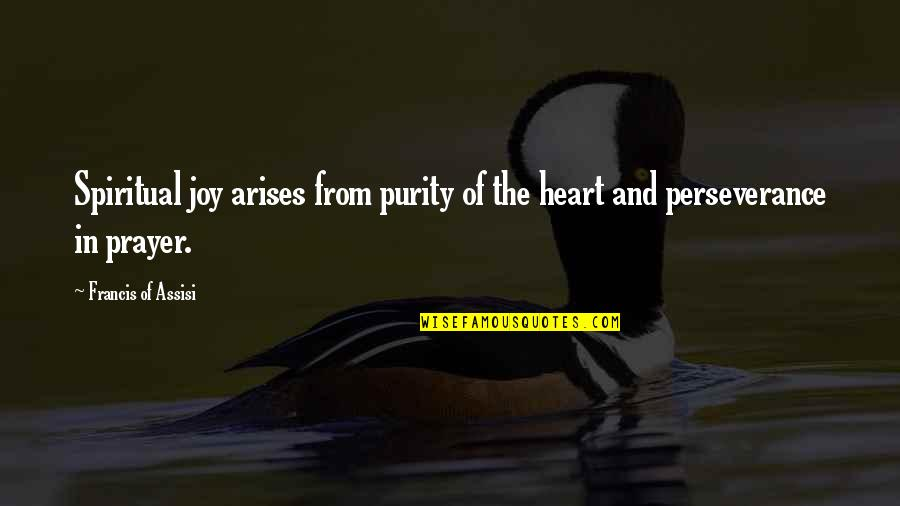 Assisi's Quotes By Francis Of Assisi: Spiritual joy arises from purity of the heart