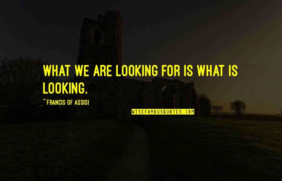 Assisi's Quotes By Francis Of Assisi: What we are looking for is what is