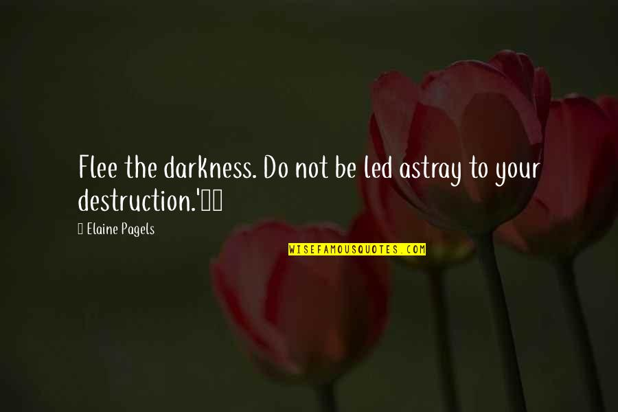 Astray Quotes By Elaine Pagels: Flee the darkness. Do not be led astray