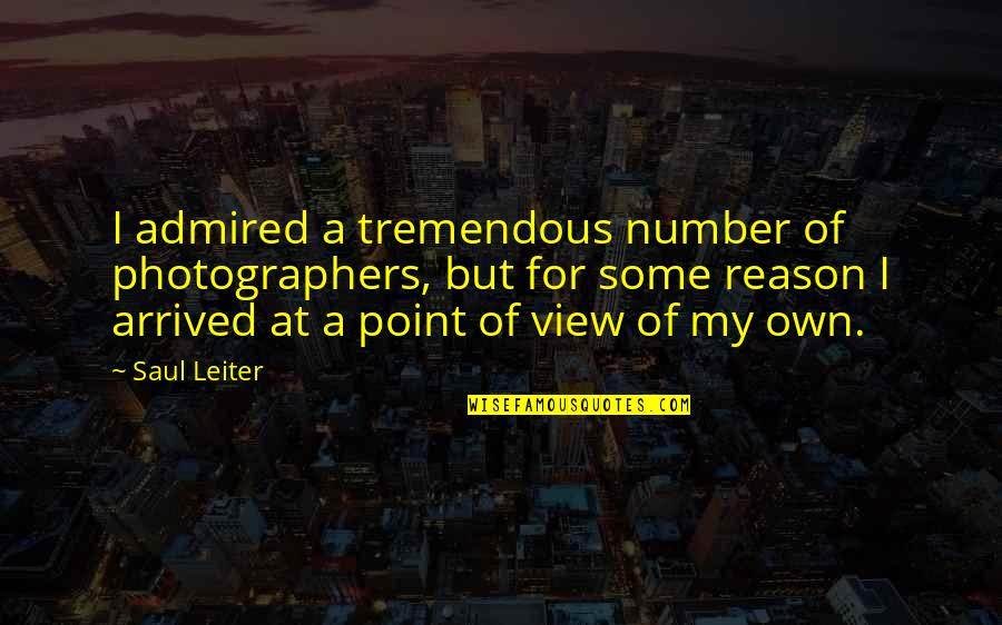 At Some Point Quotes By Saul Leiter: I admired a tremendous number of photographers, but