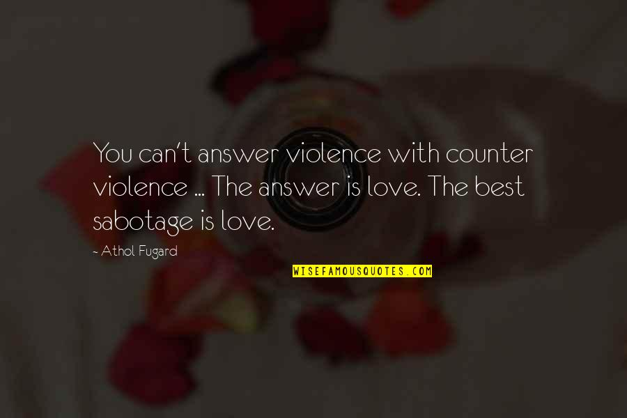 Athol Quotes By Athol Fugard: You can't answer violence with counter violence ...