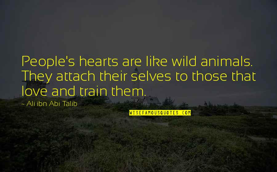Attach Quotes By Ali Ibn Abi Talib: People's hearts are like wild animals. They attach