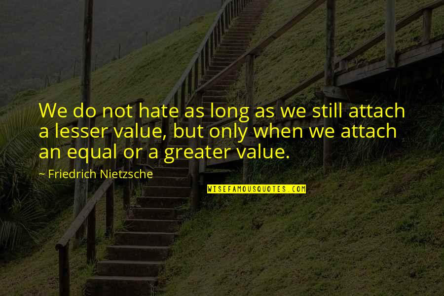 Attach Quotes By Friedrich Nietzsche: We do not hate as long as we