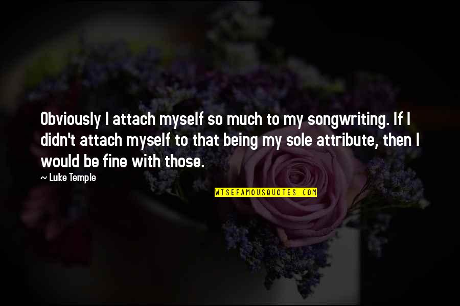 Attach Quotes By Luke Temple: Obviously I attach myself so much to my