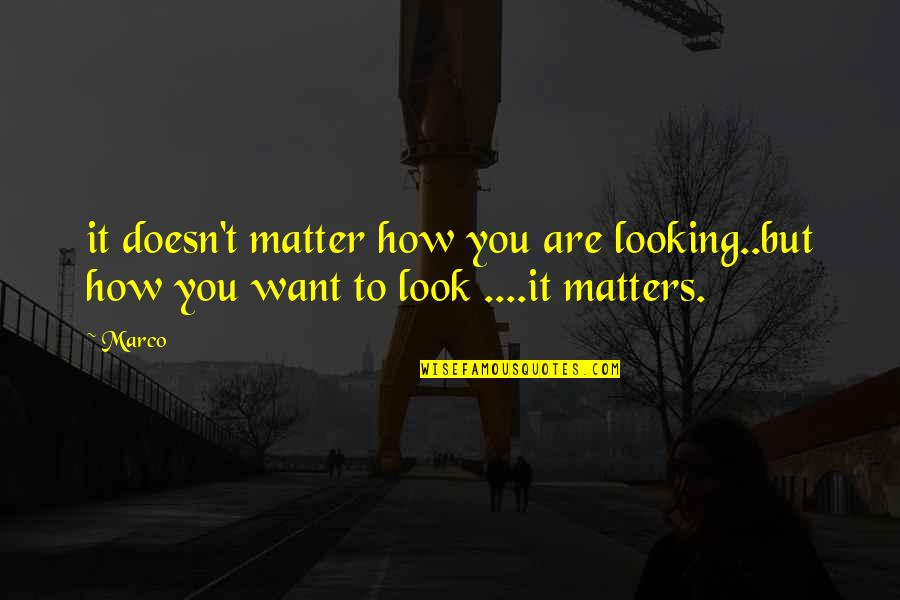 Attitude Doesn't Matter Quotes By Marco: it doesn't matter how you are looking..but how