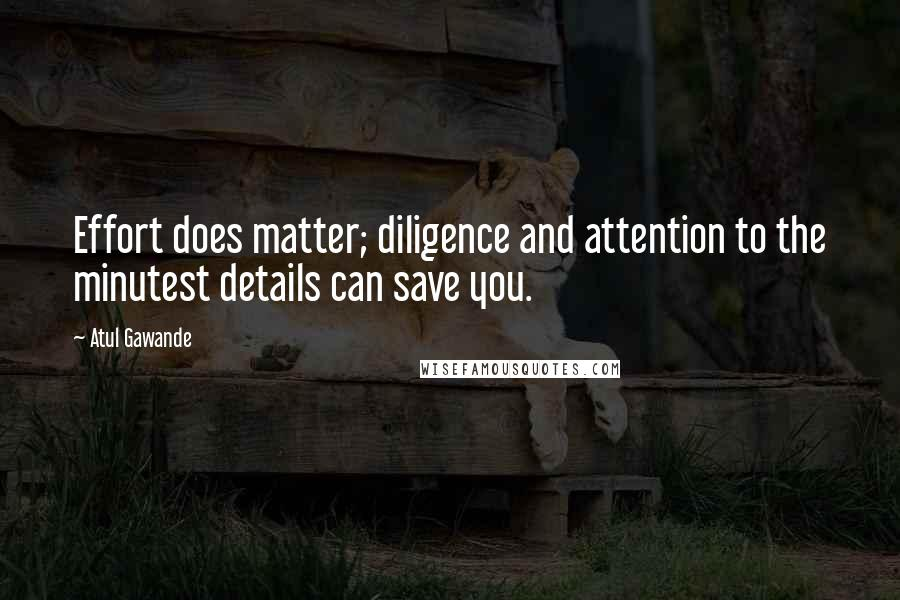 Atul Gawande quotes: Effort does matter; diligence and attention to the minutest details can save you.