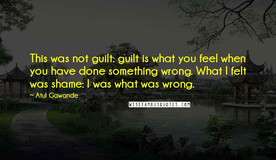 Atul Gawande quotes: This was not guilt: guilt is what you feel when you have done something wrong. What I felt was shame: I was what was wrong.