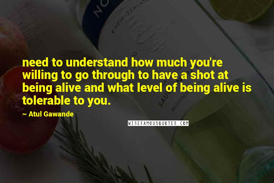 Atul Gawande quotes: need to understand how much you're willing to go through to have a shot at being alive and what level of being alive is tolerable to you.