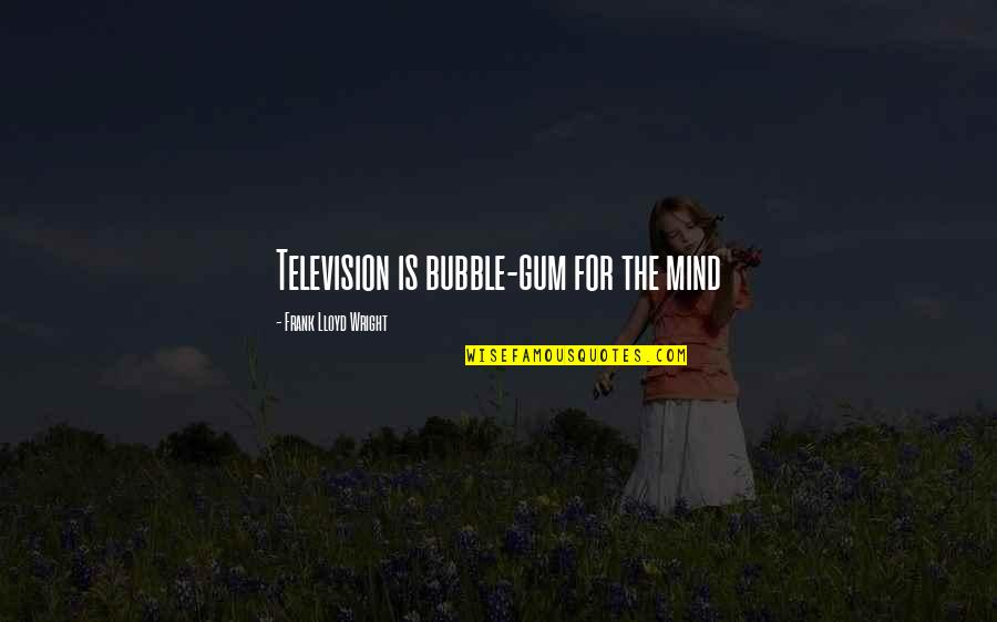 Atzbach Quotes By Frank Lloyd Wright: Television is bubble-gum for the mind