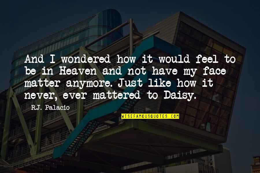 August In Wonder Quotes By R.J. Palacio: And I wondered how it would feel to