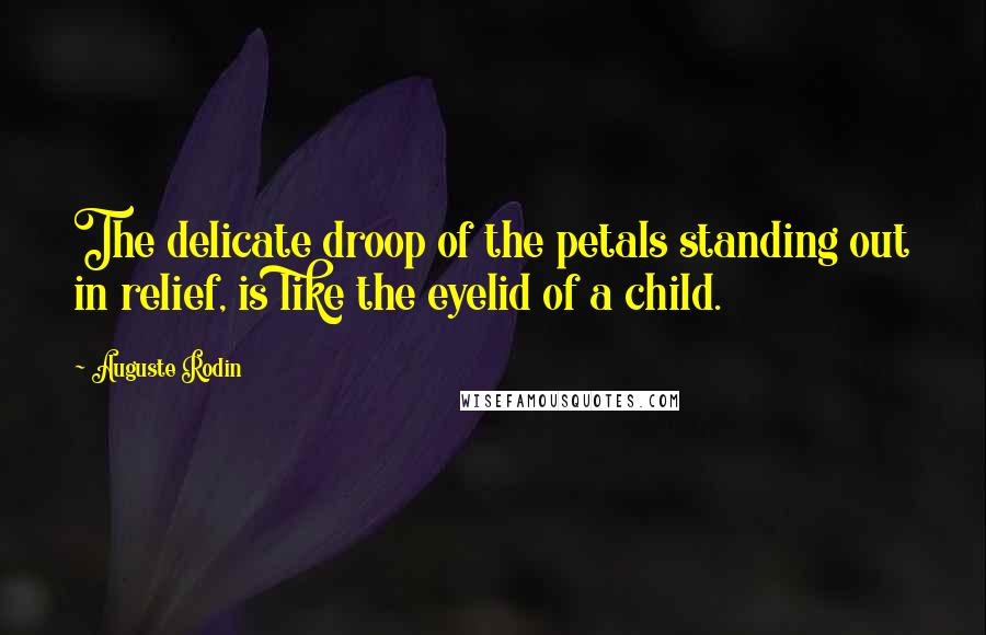 Auguste Rodin quotes: The delicate droop of the petals standing out in relief, is like the eyelid of a child.