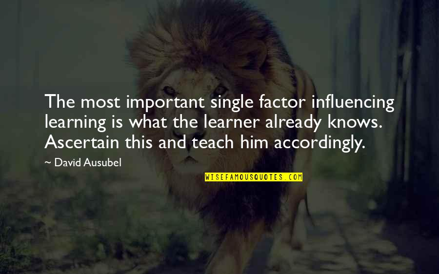 Ausubel Quotes By David Ausubel: The most important single factor influencing learning is
