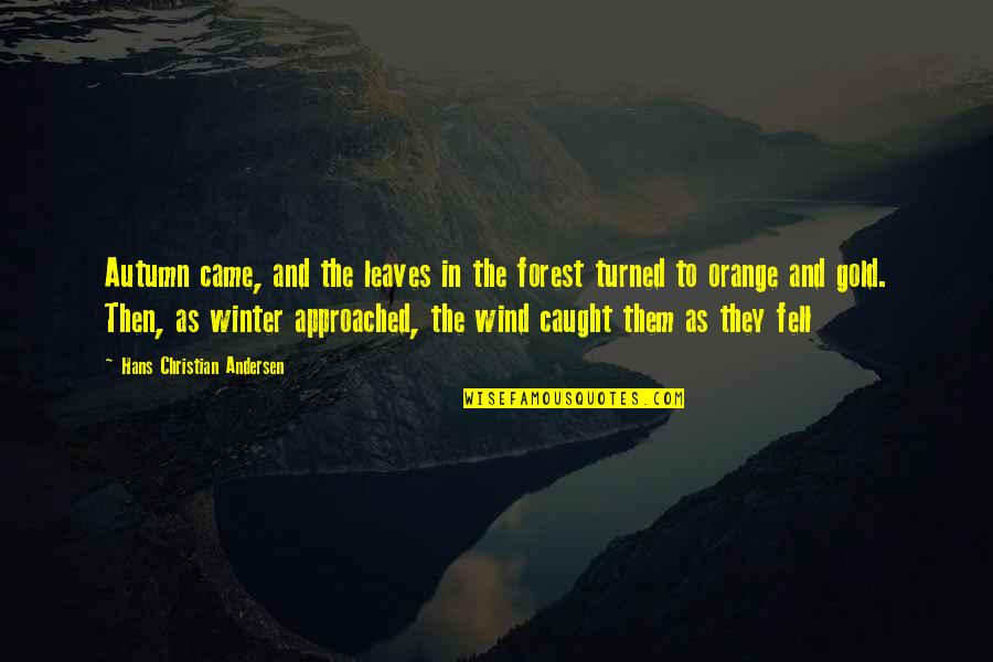 Autumn And Winter Quotes By Hans Christian Andersen: Autumn came, and the leaves in the forest