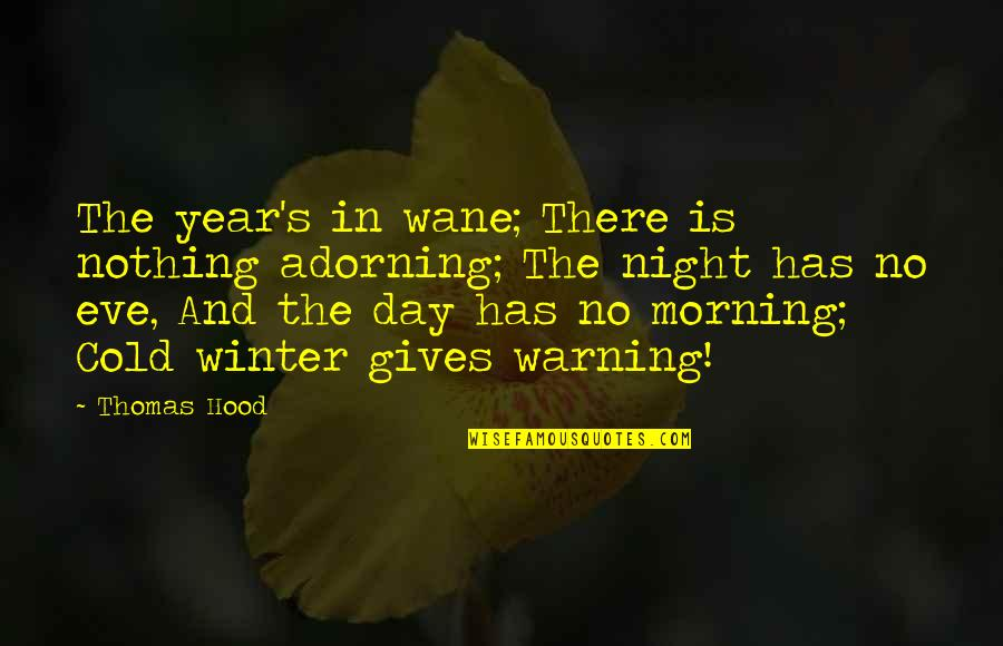 Autumn And Winter Quotes By Thomas Hood: The year's in wane; There is nothing adorning;