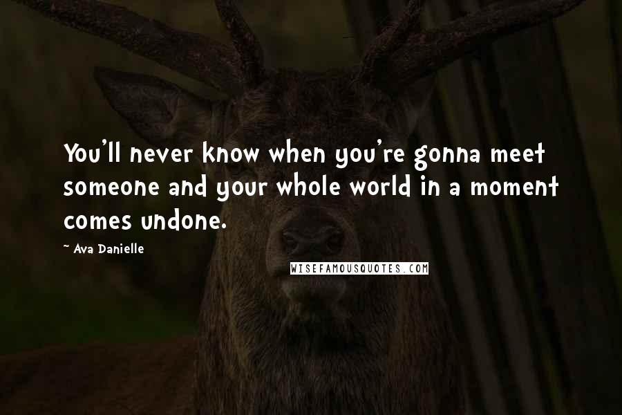 Ava Danielle quotes: You'll never know when you're gonna meet someone and your whole world in a moment comes undone.