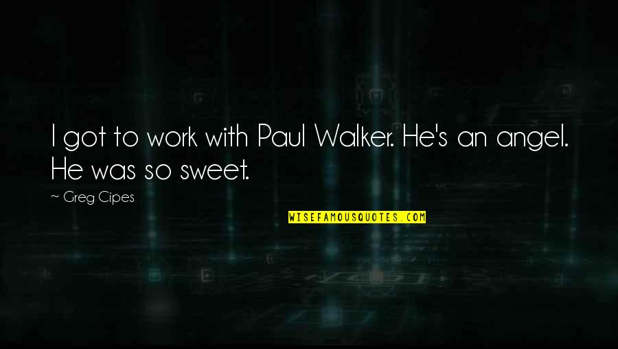 Avenging Angels Quotes By Greg Cipes: I got to work with Paul Walker. He's