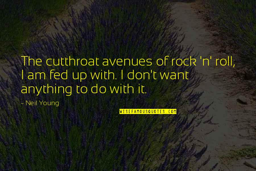 Avenues Quotes By Neil Young: The cutthroat avenues of rock 'n' roll, I
