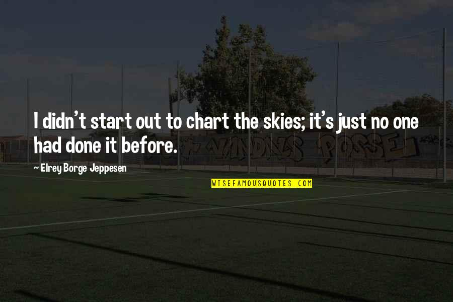Aviation's Quotes By Elrey Borge Jeppesen: I didn't start out to chart the skies;